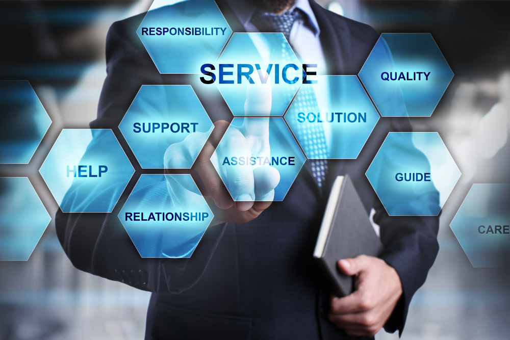 Businessman,Pressing,Button,On,Touch,Screen,Interface,And,Select,Service.