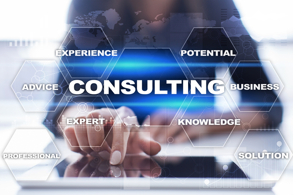 Consulting,Business,Concept.,Text,And,Icons,On,Virtual,Screen.