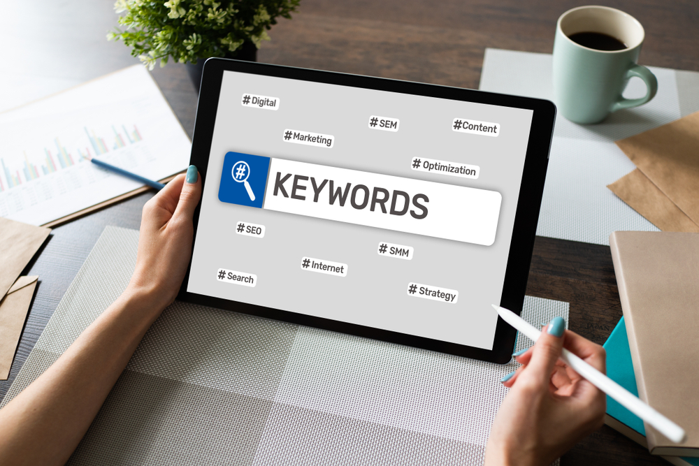 Keywords.,Seo,,Search,Engine,Optimization,And,Internet,Marketing,Concept,On
