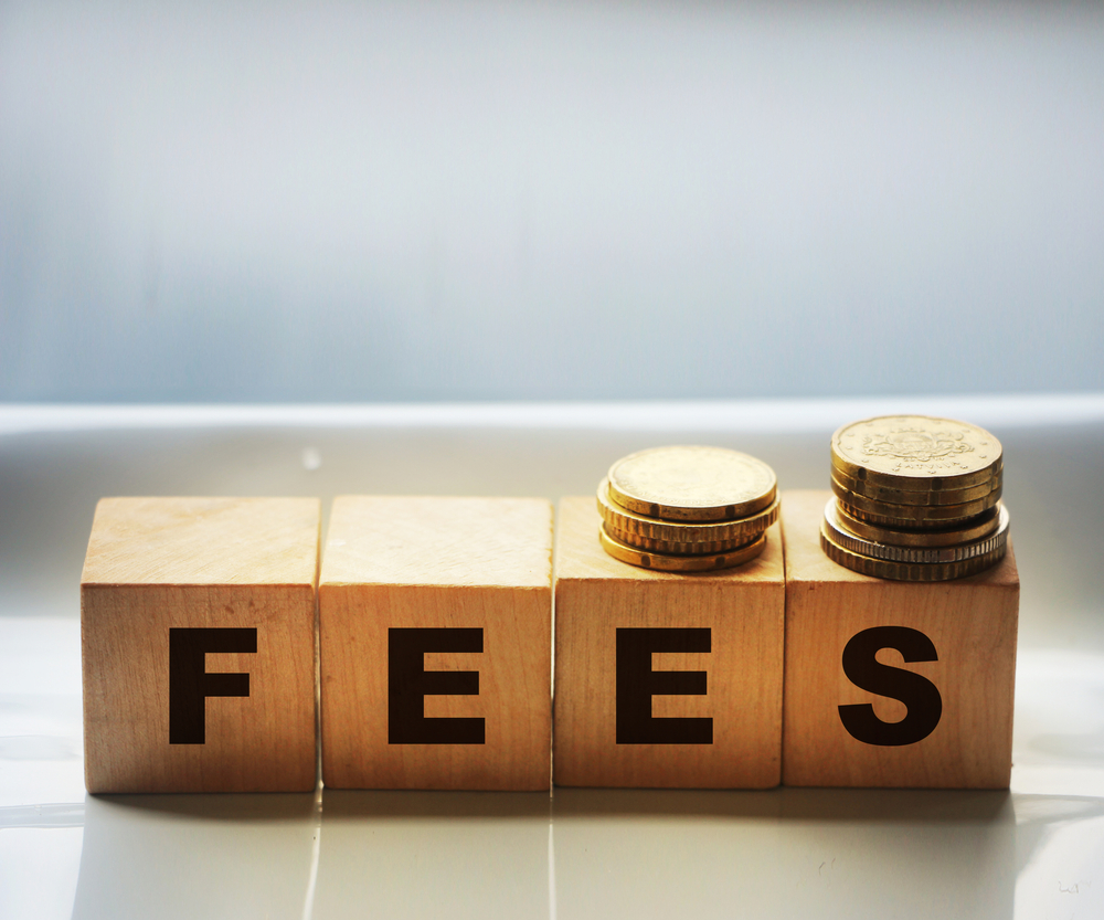 Wooden,Cbes,With,Fees,Word,And,Coins,On,Gray,Background.