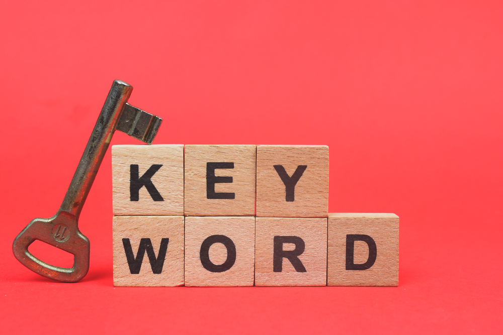 Keyword,Wooden,Block,Word,With,Red,Background.,Keyword,Research,Concept